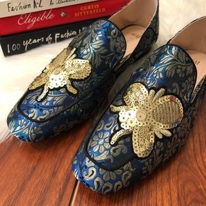 H&M Sequin Bee Loafers Smoking Flats, Size 42/10